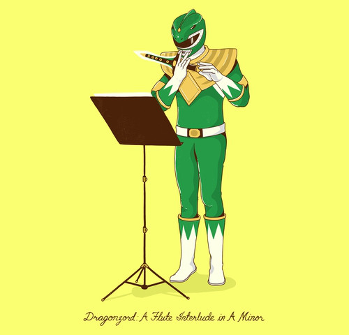 Dragonzord Flute Interlude Funny Power Rangers T-Shirt