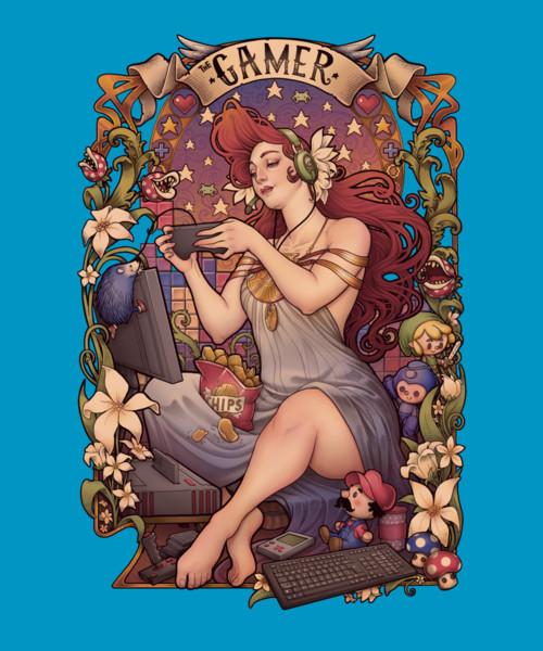 Gamer Girl Art Nouveau Retro T-Shirt
