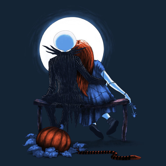 Nightmare Before Christmas Norman Rockwell Jack Sally Moon T-Shirt