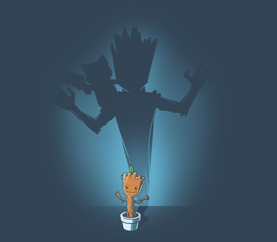 Groot Rocket Shadow Guardians of the Galaxy T-Shirt