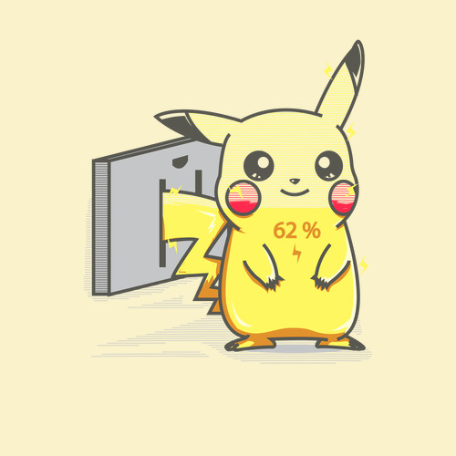 Pikachu Charge Electrical Outlet Pokemon T-Shirt