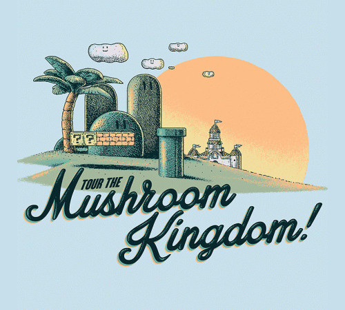 Mushroom Kingdom Super Mario Bros Vacation Tourist T-Shirt
