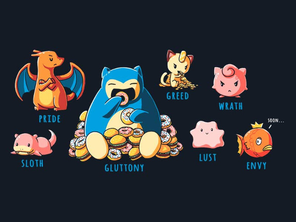 Seven Deadly Sins Pokemon T-Shirt