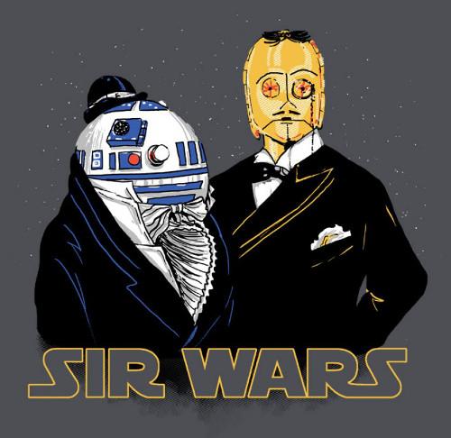 Sir Wars Gentlemen Droids R2-D2 C-3PO Star Wars T-Shirt