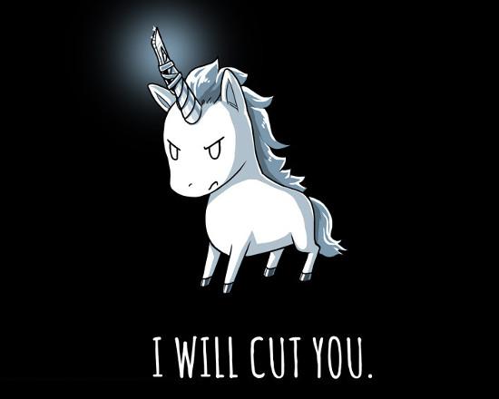 I Will Cut You Unicorn Horn Knife T-Shirt