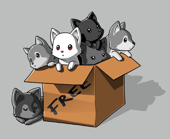 Box of Adorable Direwolf Puppies Game of Thrones T-Shirt