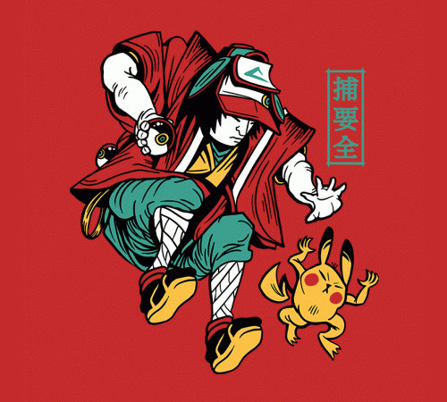 Ukiyo-e Pokemon Trainer Pikachu T-Shirt