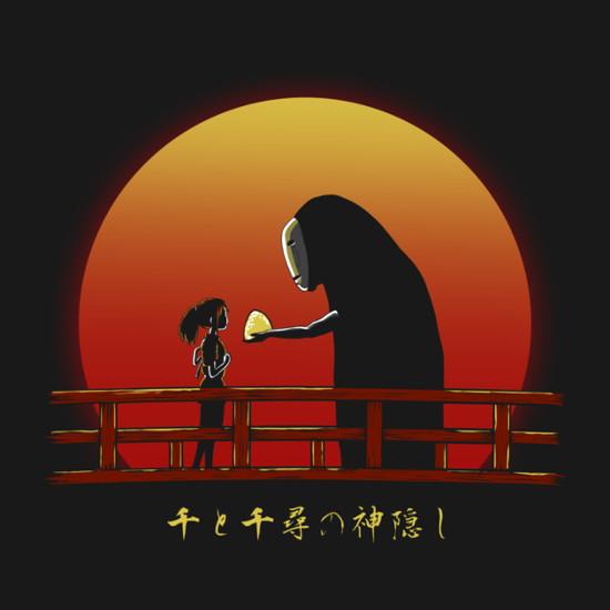 Spirited Away Chihiro No-Face Sunset Bridge T-Shirt