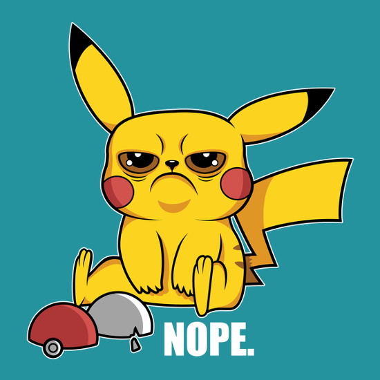 GrumPikachu Grumpy Cat Pokemon Nope T-Shirt