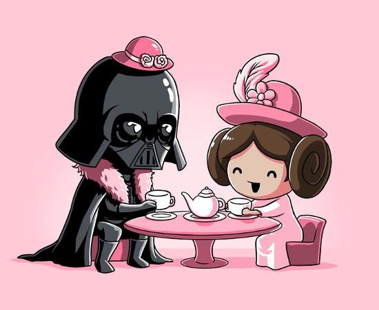 Darth Vader & Princess Leia Star Wars Tea Party T-Shirt