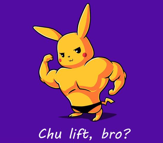 Chu Lift Bro? Gym Rat Pikachu Pokemon T-Shirt