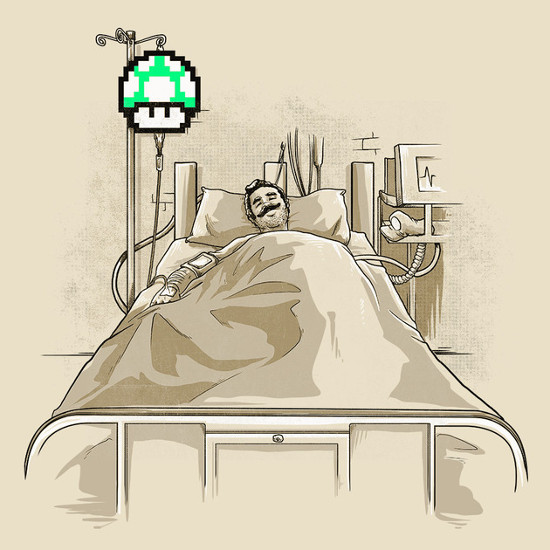 Intensive Care Unit Super Mario 1UP Hospital T-Shirt