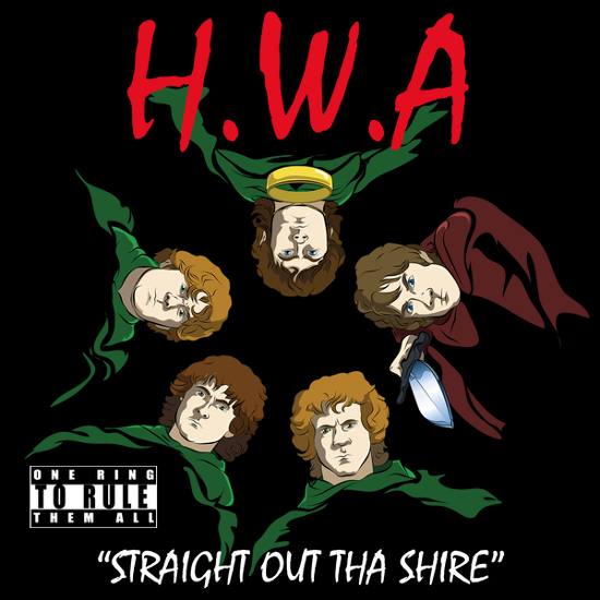 HWA Straight Out Tha Shire Hobbit Rap T-Shirt