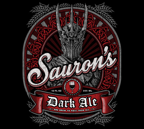 Sauron's Dark Ale Lord of the Rings Hobbit Beer T-Shirt