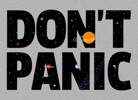 Don't Panic Space Letters Hitchhiker's Guide to the Galaxy T-Shirt