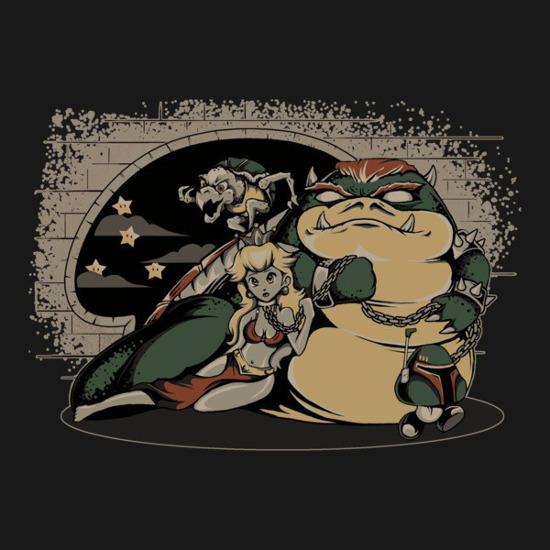 Koopa the Hutt Jabba Bowser Super Mario Star Wars T-Shirt