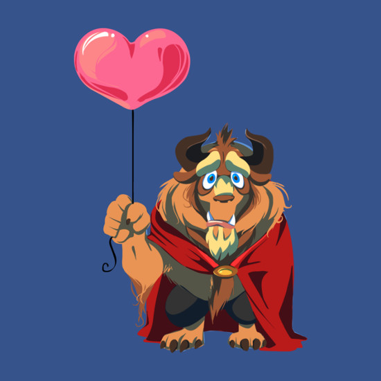 Beauty and the Beast Holding a Heart Balloon T-Shirt