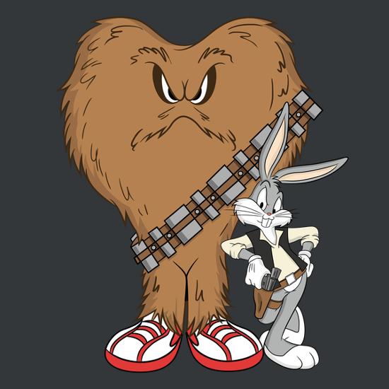 Bugs Bunny Gossamer Han Solo Chewbacca Star Wars T-Shirt