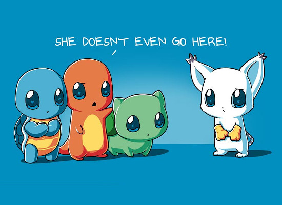 She Doesn't Even Go Here Pokemon Digimon Mean Girls T-Shirt