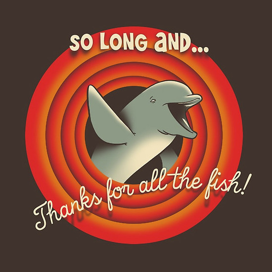 So Long Hitchhiker's Guide to the Galaxy Looney Tunes Dolphin T-Shirt