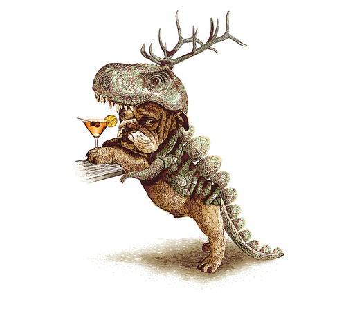 Dog in a T-Rex Costume Halloween T-Shirt