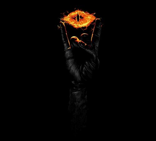 Eye of Sauron Heavy Metal Horns Hobbit T-Shirt