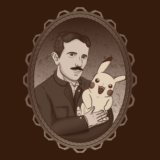 Nikola Tesla's Secret Pikachu Pokemon T-Shirt