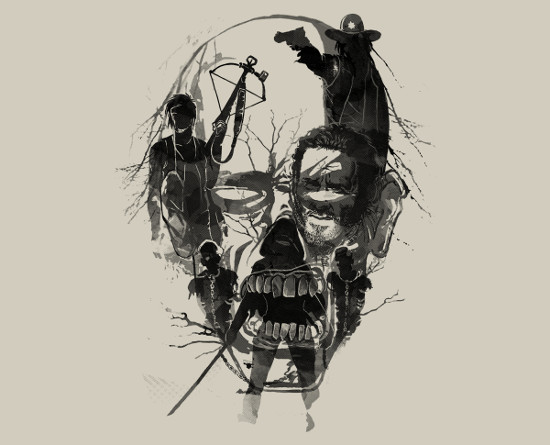 Dead Walker Walking Dead Zombie Art T-Shirt