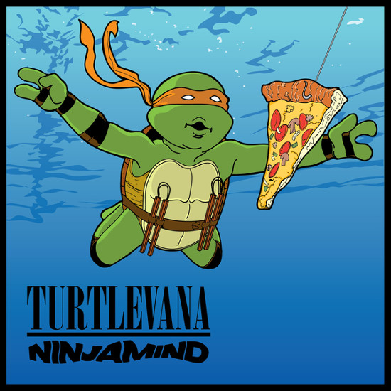 Turtlevana Ninjamind TMNT Michelangelo Pizza Nirvana Nevermind T-Shirt