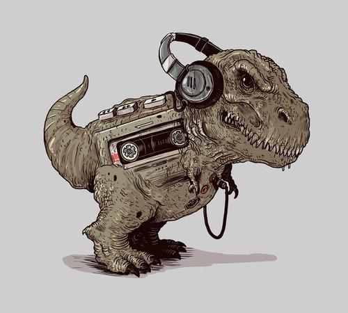 T-Rex Walkman Dinosaur T-Shirt