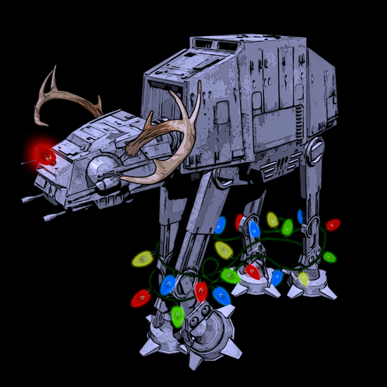 AT-AT Walker Christmas Lights Star Wars T-Shirt