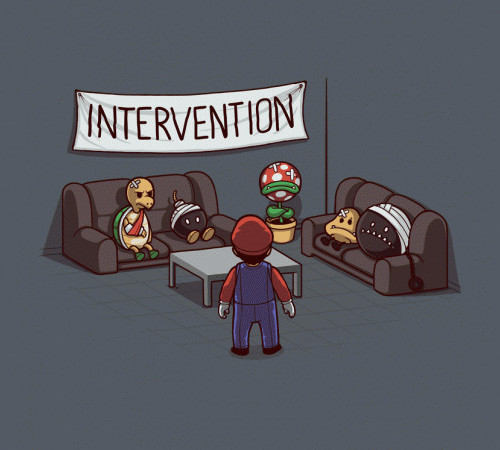 Super Mario Intervention Funny Gaming T-Shirt