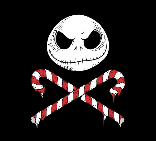 Nightmare Before Christmas Jack Skellington Jolly Roger Skull Crossbones Candy Canes T-Shirt