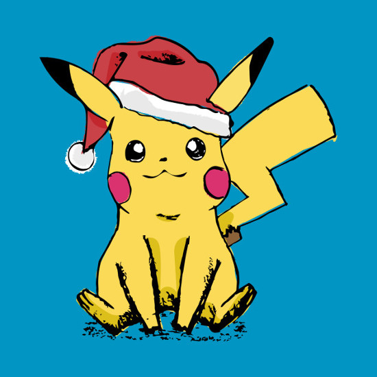 Pikachu Santa Sketch Pokemon Christmas T-Shirt