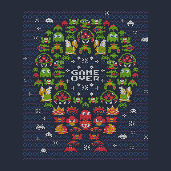 Gamer 8-Bit Christmas Wreath Sweater T-Shirt