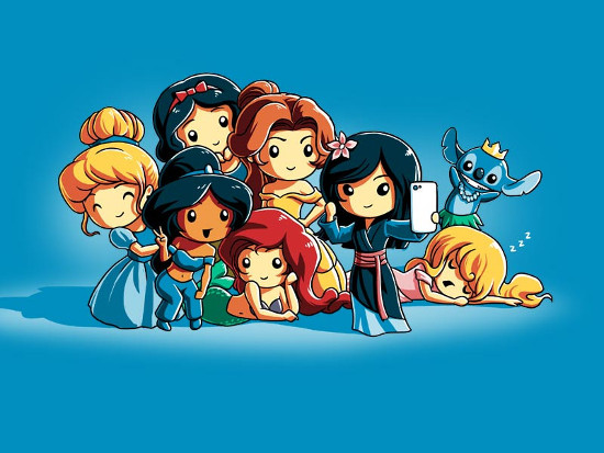 Disney Princesses Selfie Stitch Photobomb T-Shirt