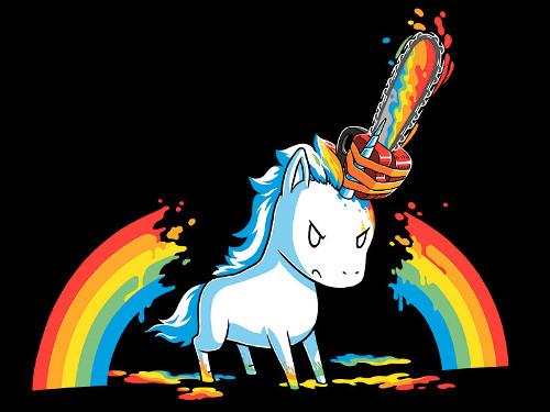 Unicorn Rainbow Chainsaw Massacre T-Shirt