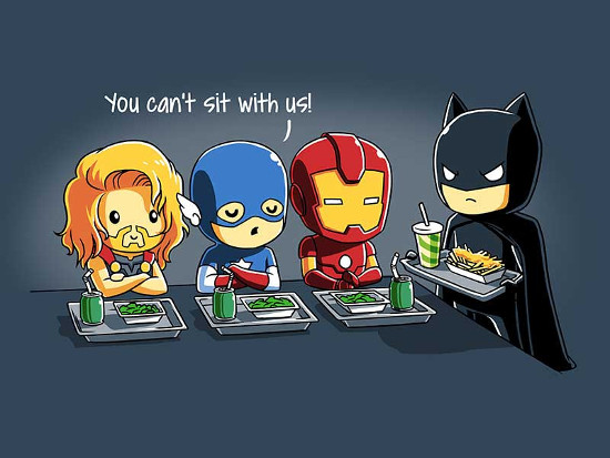 You Can't Sit With Us Thor Captain America Iron Man Batman T-Shirt
