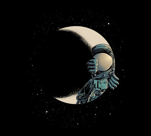 Crescent Moon Astronaut Optical Illusion T-Shirt