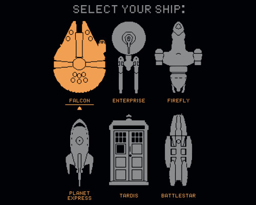 Select Your Ship Sci-Fi Gaming T-Shirt