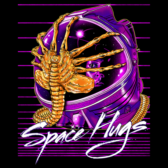 Space Hugs Facehugger Alien Retro T-Shirt