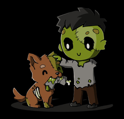 Play Dead Zombie and Dog T-Shirt