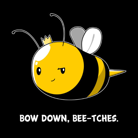 Queen Bee Bow Down Bee Bitches T-Shirt