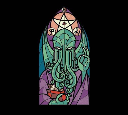 Cthulhu Church Stained Glass Window T-Shirt