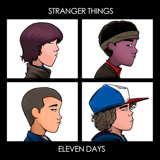 Stranger Things Eleven Days Gorillaz T-Shirt