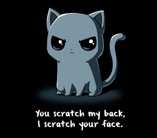You Scratch My Back I Scratch Your Face Evil Cat T-Shirt