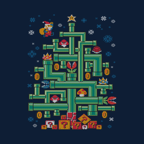 Super Mario Pipe Christmas Tree T-Shirt