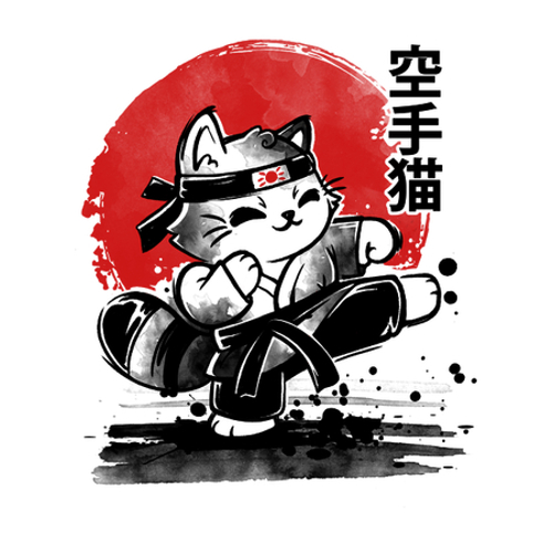 Karate Cat Rising Sun T-Shirt