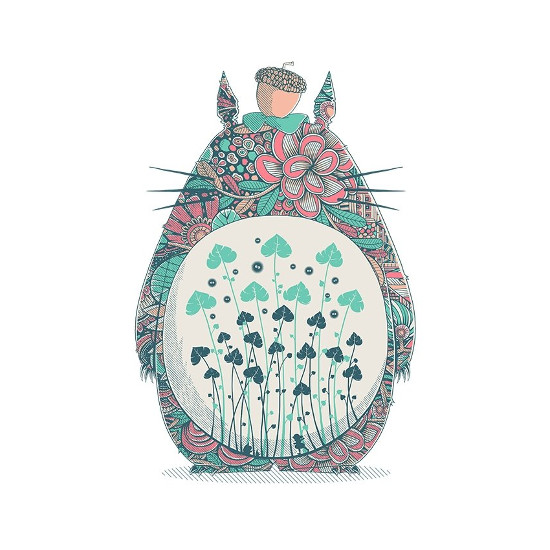 My Neighbor Totoro Floral Pattern T-Shirt