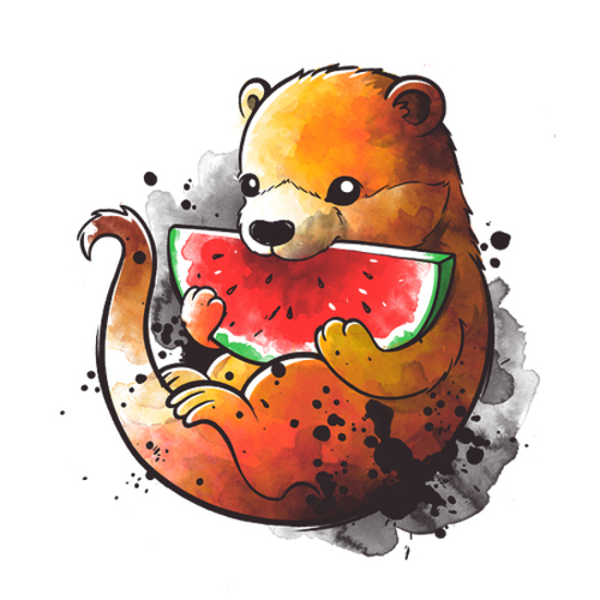 Wottermelon Cute Otter Eating a Watermelon T-Shirt